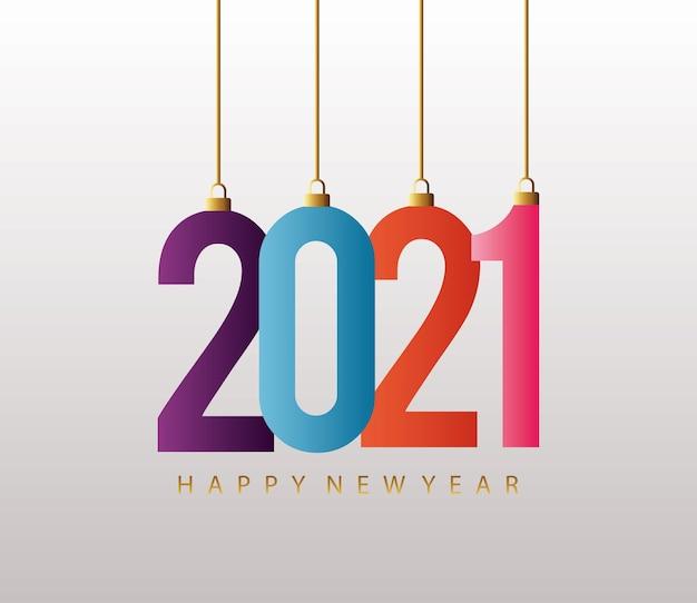 새해 복 많이 받으세요 2021 다채로운 카드 매달려 그림