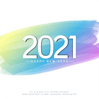 Happy new year 2021 on colorful watercolor background