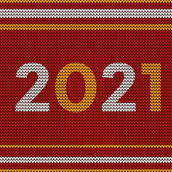 Happy new year 2021 design with christmas textile pattern design