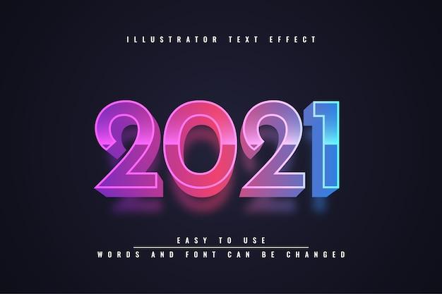 С новым годом 2021 - редактируемый текстовый эффект 3d-дизайн