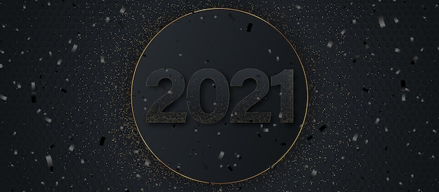 Happy new year 2021. elegant gold text with light.