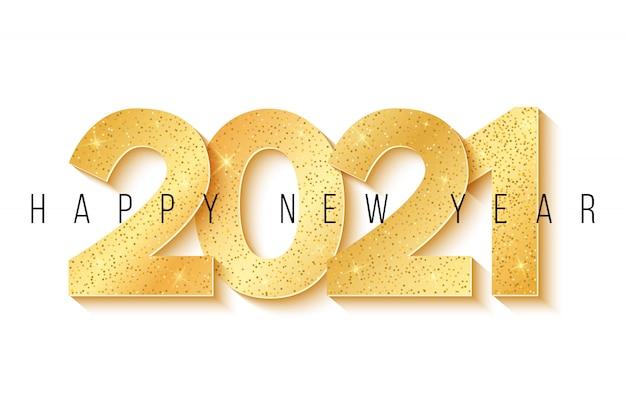 明けましておめでとうございます2021。お祭りの背景とキラキラが白い背景で隔離の黄金の3 d豪華な数字。