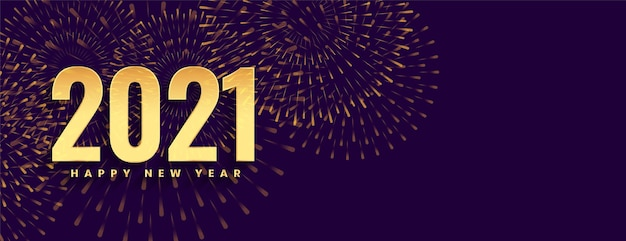 Felice anno nuovo 2021 celebrazione di fuochi d'artificio sul banner viola