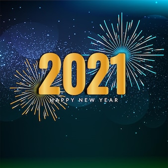 Happy new year 2021 fireworks celebration background