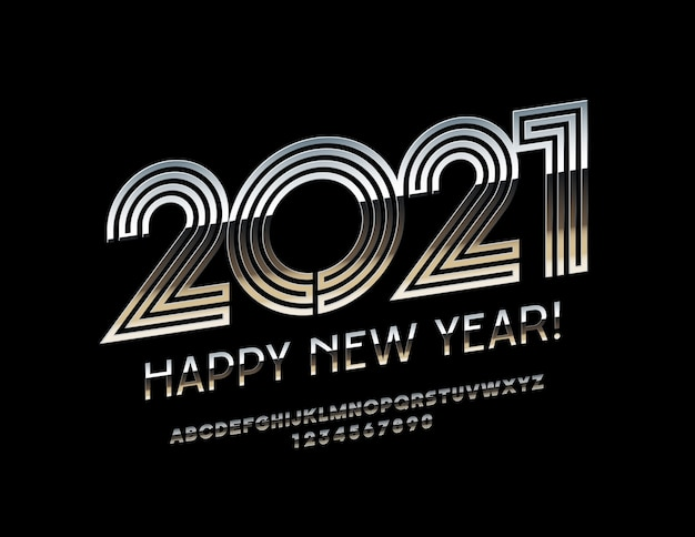 Happy new year 2021. font silver alphabet letters and numbers