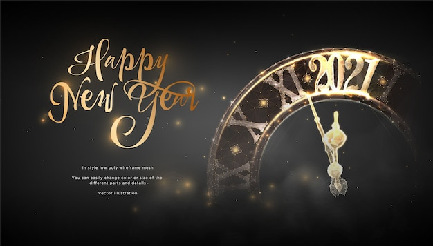 明けましておめでとうございます2021年の未来的なバナー。時計がチャイムを打つ