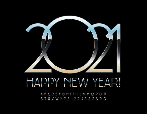 Happy new year 2021. glossy metal font. elegant alphabet letters and numbers