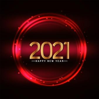 Cartolina d'auguri di felice anno nuovo 2021 cerchi luminosi