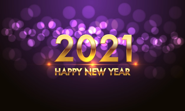 Happy new year 2021 gold number and text on violet bokeh light effect black background.