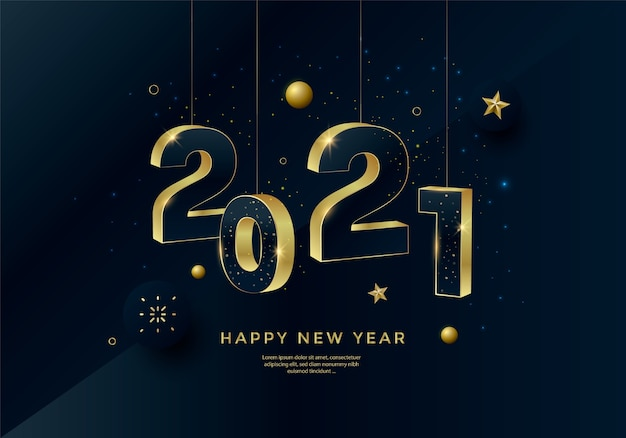 Happy new year 2021 gold numbers typography