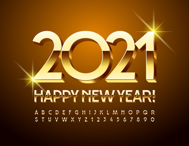 Happy new year 2021. golden 3d font. glossy uppercase alphabet letters and numbers