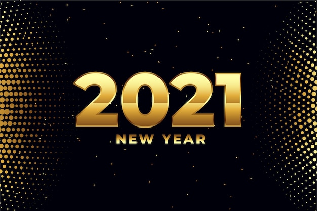 Happy new year 2021 in golden color and halftone
