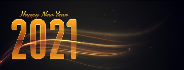 Happy new year 2021 golden light streak banner design