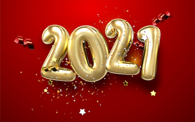 Happy new year 2021. golden metal numbers. realistic 3d signs. luminous bright splash of gold bokeh lights