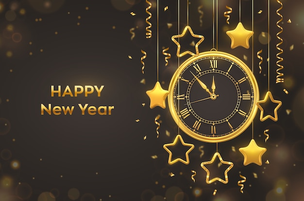 Happy new year 2021. golden shiny watch with roman numeral and countdown midnight.