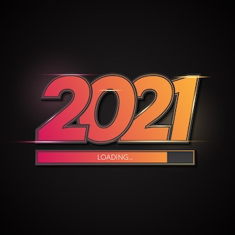 Happy new year 2021 gradation background with loading bar
