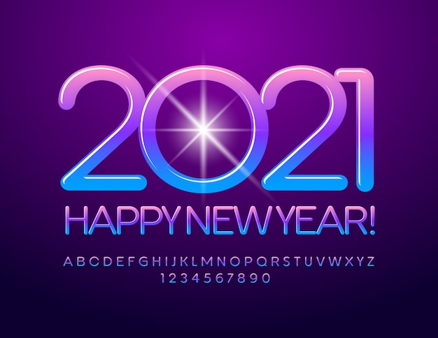 Happy new year 2021. gradient color blue and violet font. creative alphabet letters and numbers set