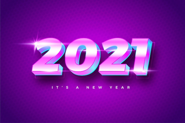 Happy new year 2021 gradient colorful background template