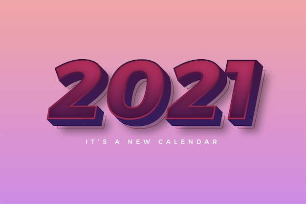 Happy new year 2021 gradient colorful pink template for calendar