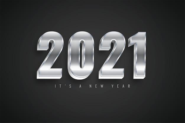 달력에 대한 새해 복 많이 받으세요 2021 그라디언트 다채로운 실버 템플릿