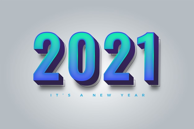 Happy new year 2021 gradient colorful template for calendar
