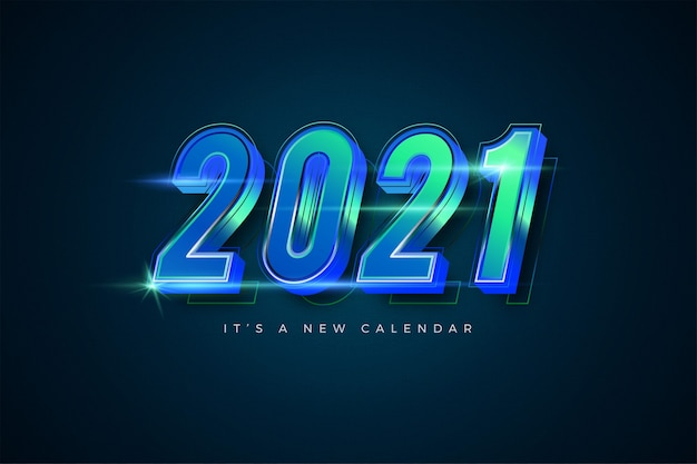 Happy new year 2021 gradient emerald colorful template for calendar
