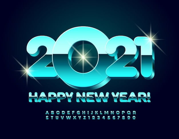 Happy new year 2021 greeting card. 3d modern font. metallic alphabet letters and numbers