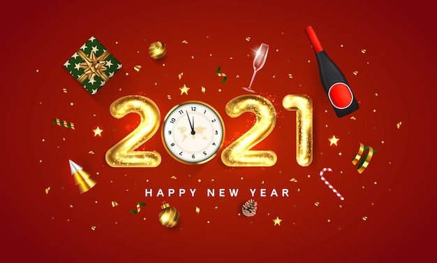 明けましておめでとうございます2021グリーティングカード。赤い背景に金色の金属番号2021の休日のデザイン。休日のデザインは、ギフトボックス、ゴールドボール、コーン、ゴールデンツリーワインボトルと星で飾る