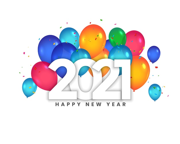 Happy new year 2021 greeting card with balloons celebration