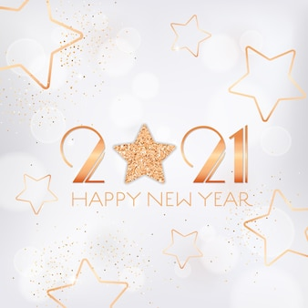 Happy new year 2021 greeting card with gold stars and glitter on white blurred background with golden sparkles and typography. invitation flyer or promo brochure design, elegant new year postcard