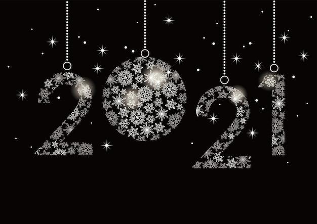 雪片で作られた番号の新年あけましておめでとうございます2021グリーティングカード