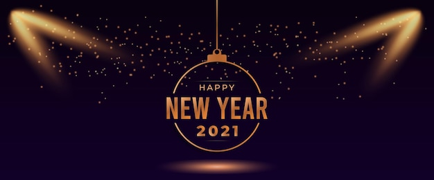 Happy new year 2021 greeting card with spotlight and sparkling light