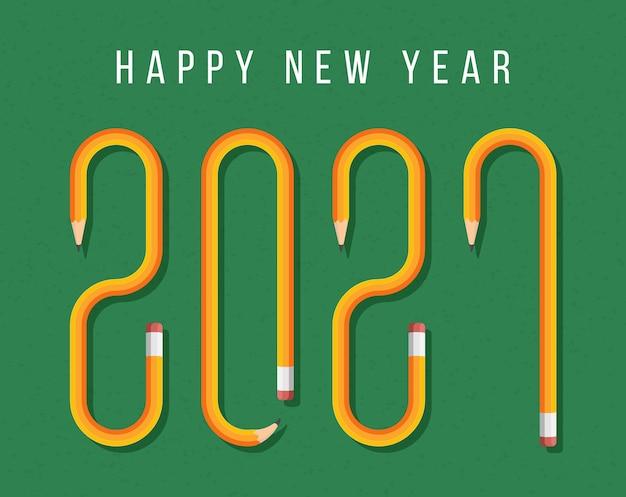 黄色の鉛筆で形成されたテキストで幸せな新年2021グリーティングカード。学校のグリーンボードの背景に鉛筆フォント