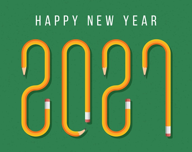 Happy new year 2021 greeting card with text formed by yellow pencil. pencil font on a school green board background