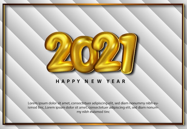 Happy new year 2021 gretting card realistic