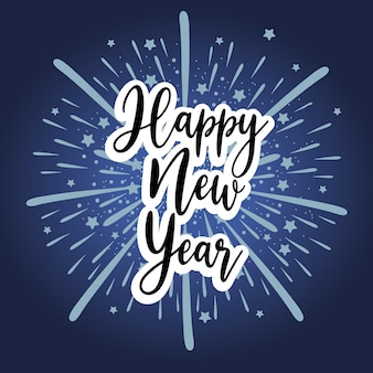 Happy new year 2021 handwritten font and fireworks