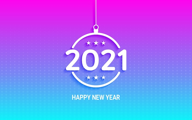 Happy new year 2021 in hanging christmas ball on neon light color