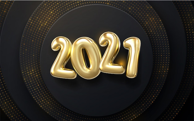 Happy new year 2021. holiday nye event sign.   3d illustration. golden characters 2021 with wavy sculpted pattern. black papercut background. glittering backdrop.