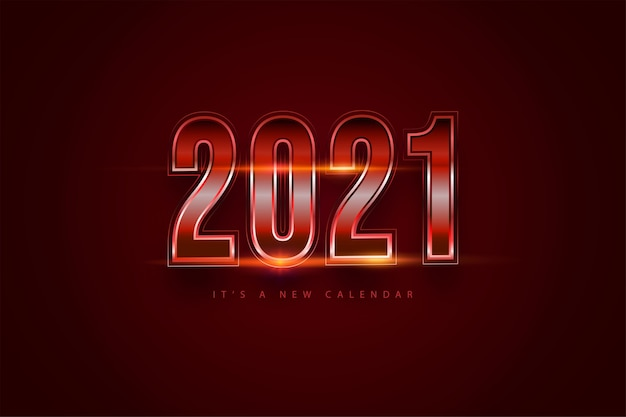 Happy new year 2021 holiday red gradient background