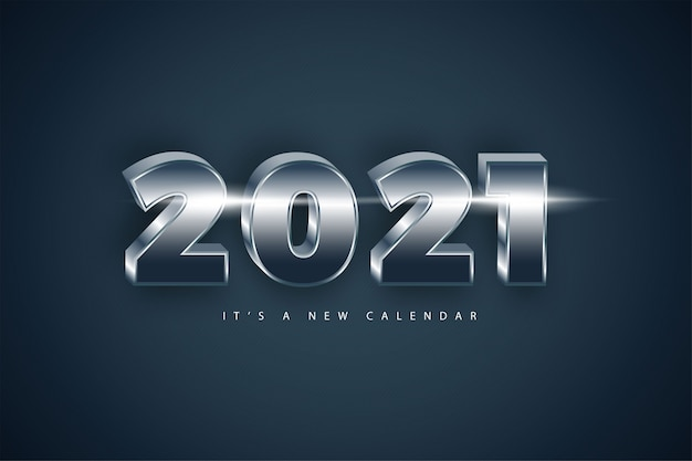 Happy new year 2021 holiday silver luxury background