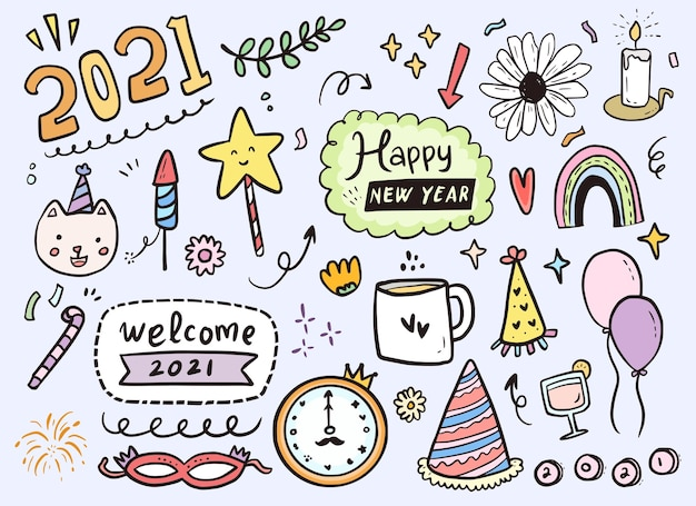 Happy new year 2021 icon sticker drawing in hand drawn style Premium Vector