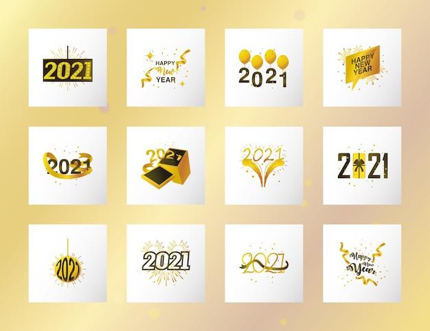 С новым годом 2021 коллекция икон празднования и украшения иллюстрации