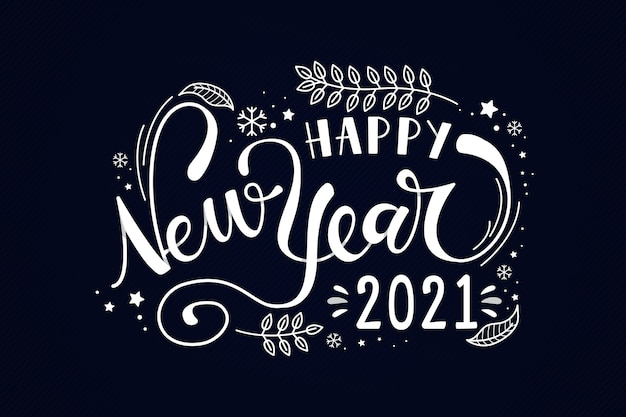 Happy new year 2021 lettering design
