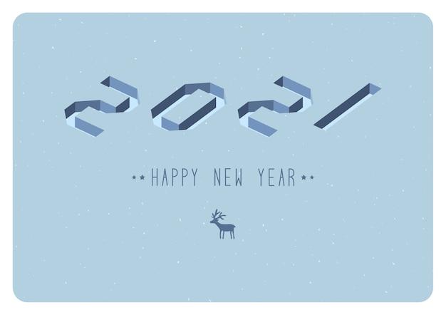 明けましておめでとうございます2021ロゴテキストデザイン。ベクトルイラスト。