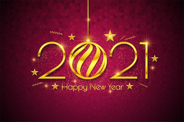 С новым годом 2021 роскошный текстовый дизайн. поздравительная иллюстрация с золотыми числами
