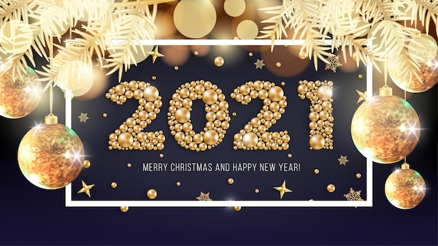 Happy new year 2021 and merry christmas greeting card design with numbers of gold beads, golden spruce branches and christmas balls on shiny bokeh luxury background.  illustration
