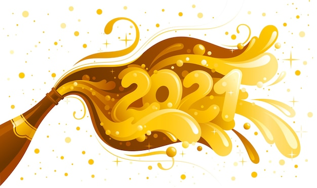 Happy new year 2021 and merry christmas greeting card. holiday banner with champagne bottle and 2021 number.