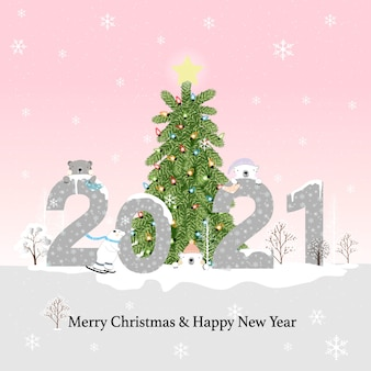해피 뉴 이어 2021 & 북극곰과 소나무 숲과 블루 파스텔에 메리 크리스마스, 카와이 평면 만화 디자인