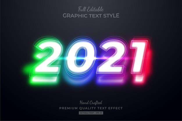 Happy new year 2021 neon editable premium text style effect