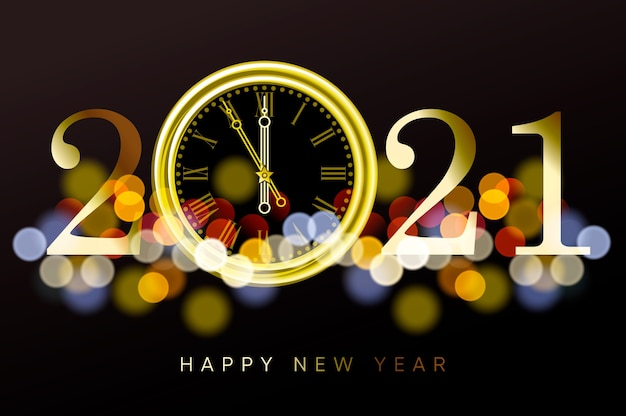 새해 복 많이 받으세요 2021-금 시계와 bokeh 효과와 함께 새해 빛나는 배경